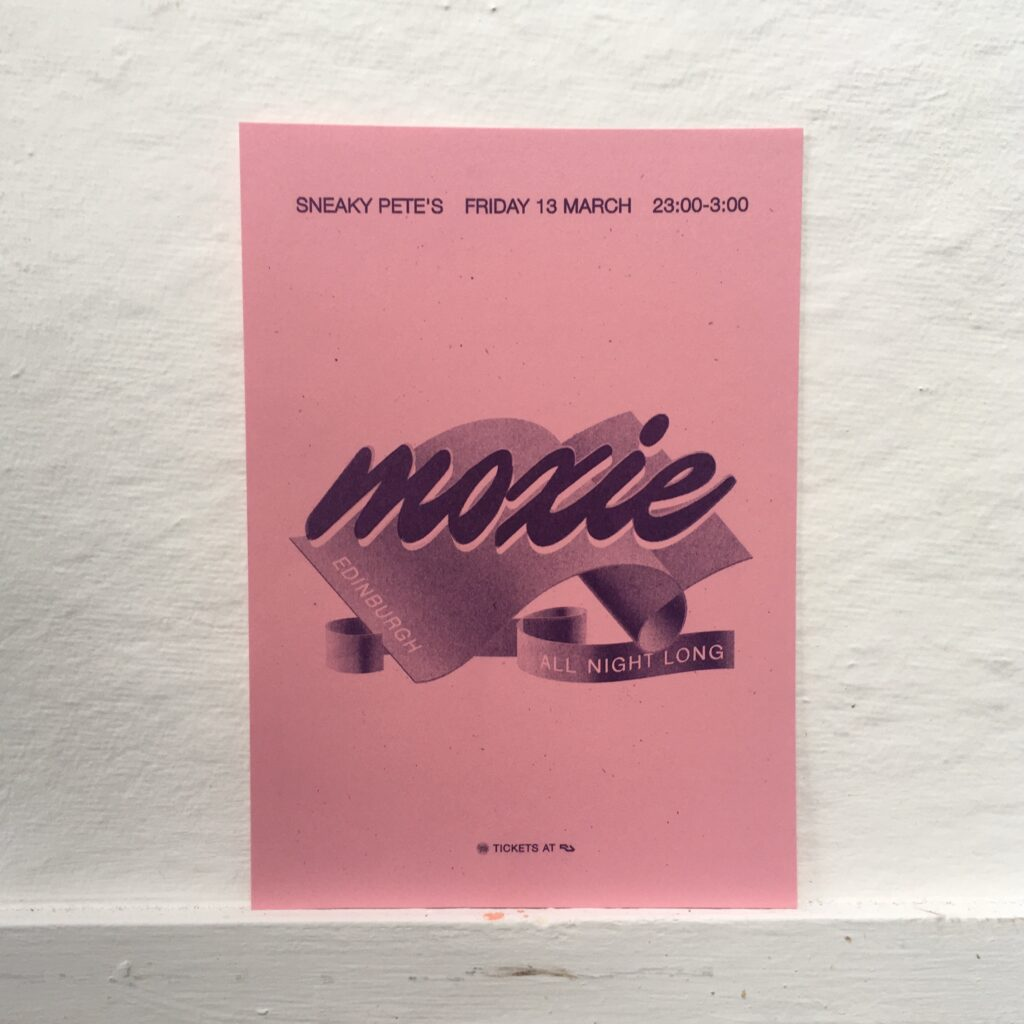 Photograph of a riso-printed flyer for a Sneaky Pete's club night.